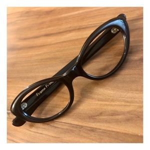 Vintage French Cateye Glasses, Black, Deadstock